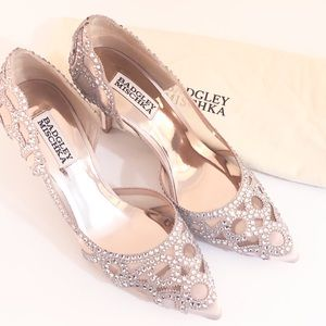NEW Badgley Mischka Crystal Satin D'Orsay Pump